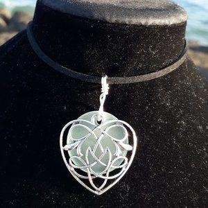 Light Sea Green Sea Glass Celtic Heart Necklace